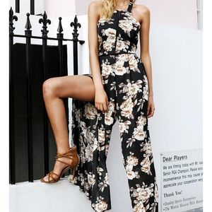 PREVIEW - MAYA Floral High Split Jumpsuit